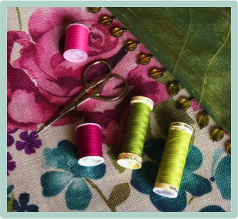 Fabric and trim colour matching in pops of pink, blue and green, mood board, workshops link, book a retreat