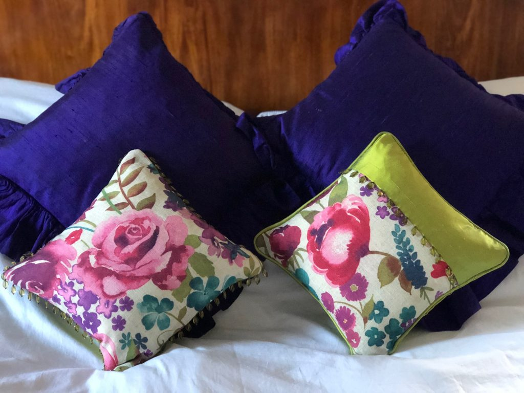 Lovely pops of colourful scatter cushions in linen and silk