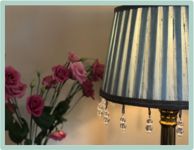 Pleated wedgewood blue silk dupion lampshade with beaded trim, link to inspiration for lampshade services