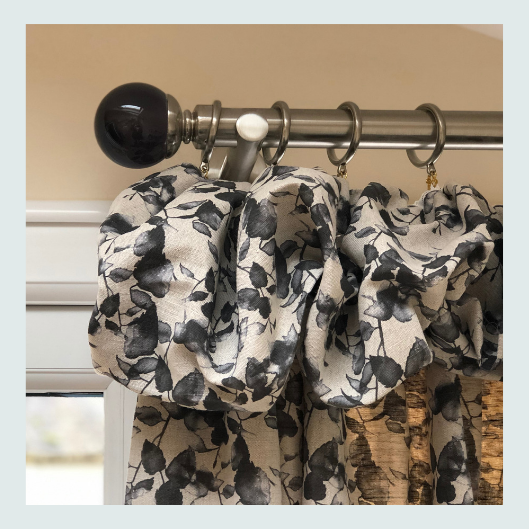 Charcoal and cream linen bespoke handmade cottage top curtains.