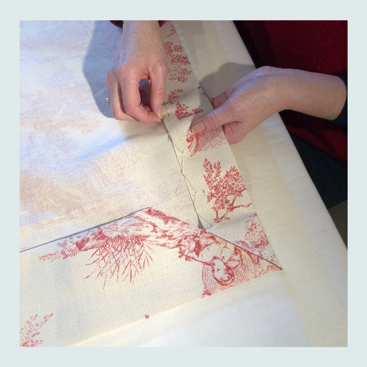 Work in progress. Linen toile de jouy, bespoke handmade curtains with contrast lining and contrast cottage heading