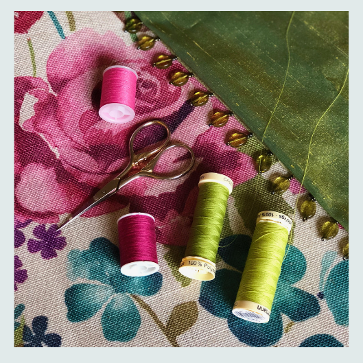 Colour matching for floral and green silk and linen scatter cushion with a Beaded trim and handmade buttons. Workshop ideas, about, is this course for me?