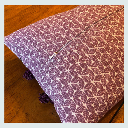 Mauve and white linen scatter cushion. Pattern match for hidden zip. Workshop ideas, about, is this course for me?
