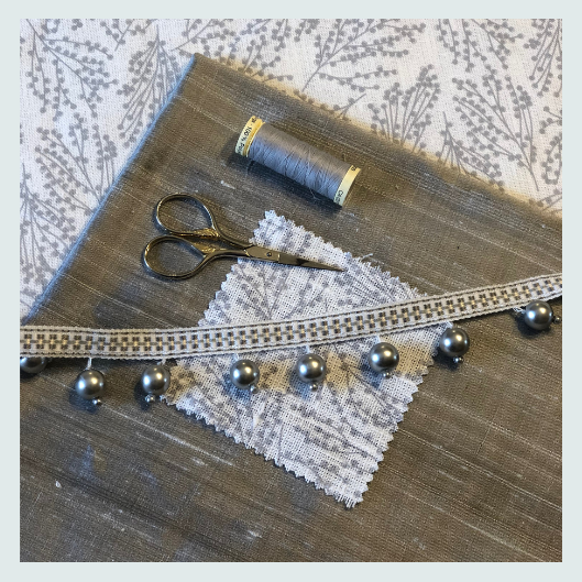 Colour matching for silver and cream linen scatter cushion with a Beaded trim and handmade buttons. Workshop ideas, about, is this course for me?
