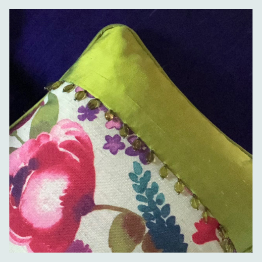 Floral and green silk and linen scatter cushion with a Beaded trim and handmade buttons. Workshop ideas, about, is this course for me?
