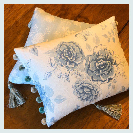 Handmade, bespoke floral linen cushion with a coordinating pom pom trim, cushions style ideas