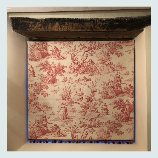 Linen toile de jouy, bespoke handmade roman blinds with pom pom trim