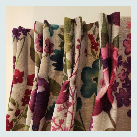 Handmade, bespoke, colourful floral curtains, French pleat heading