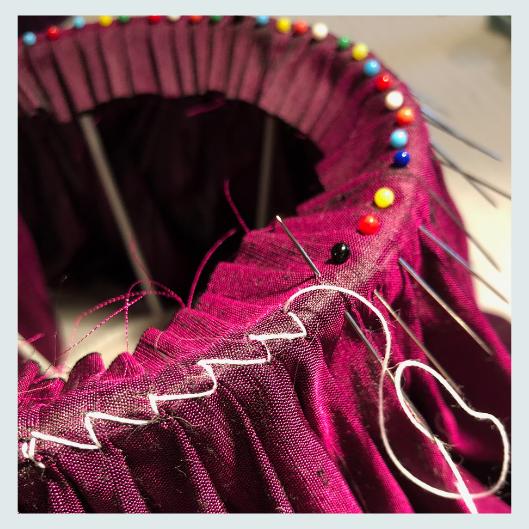 Lampshade stitch, bespoke handmade silk dupion pleated/gathered lampshade