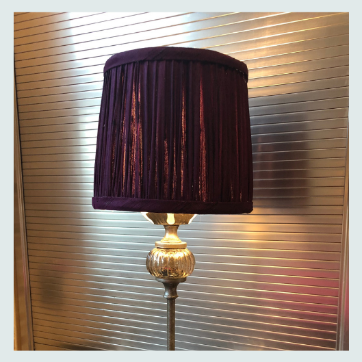 Completed, bespoke handmade silk dupion pleated/gathered lampshade