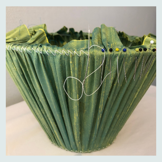 Traditional handmade pleated/gathered lampshade in green silk dupion, lampshade stitch fixing pinch pleats