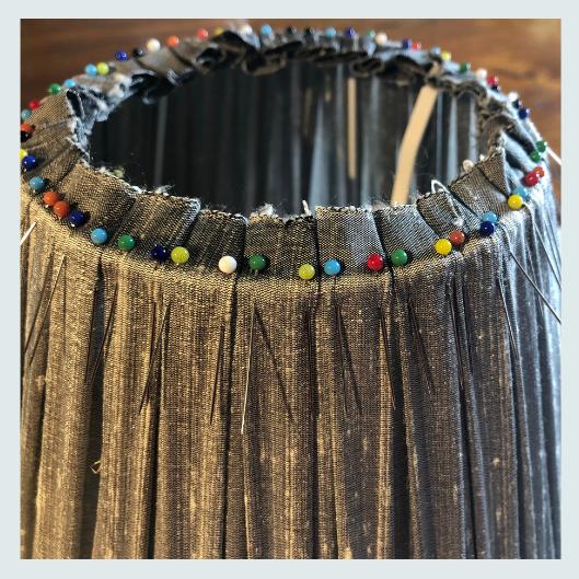 Grey silk dupion box pleats top, handmade pleated/gathered lampshade bottom, beginning pinning pleats