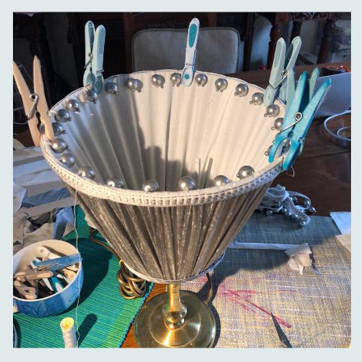 Grey silk dupion box pleats top, handmade pleated/gathered lampshade bottom, stitching beaded trim