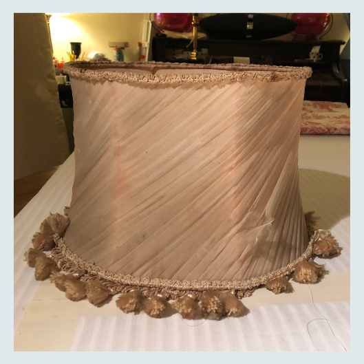 Renovation commission, before, silk chiffon, vintage, pink swathed silk lampshade
