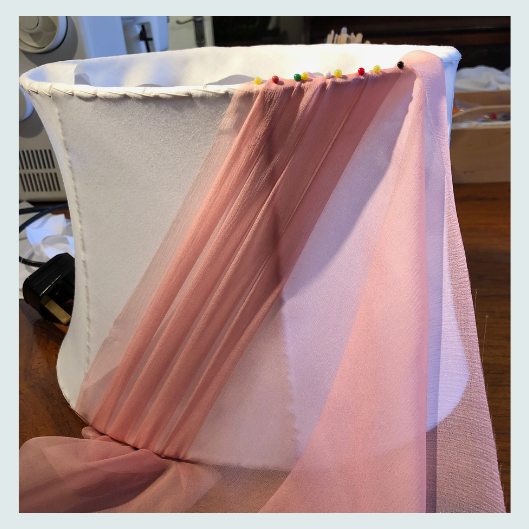 Renovation commission, silk chiffon, vintage, pink swathed silk lampshade, beginning pleats