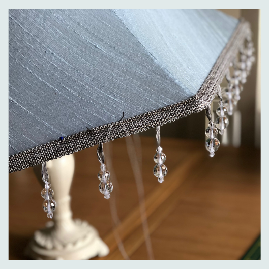 Wedgewood blue silk dupion lampshade with beaded trim, traditional handmade tailored lampshade, upholstery stitch
