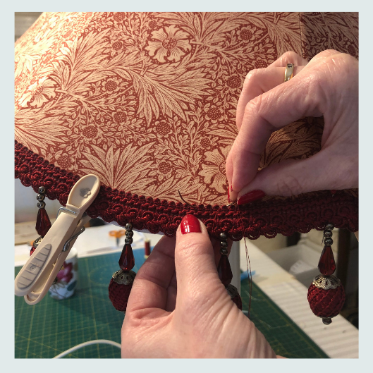 William Morris design, strawberry thief, handmade tailored lampshade with beaded trim, upholstery stitch