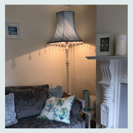Commissioned bespoke handmade tailored lampshade in wedgewood blue dupion silk with a beaded trim