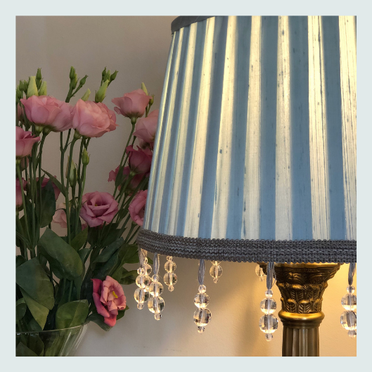 Wedgewood blue silk dupion, traditional handmade knife pleat lampshade