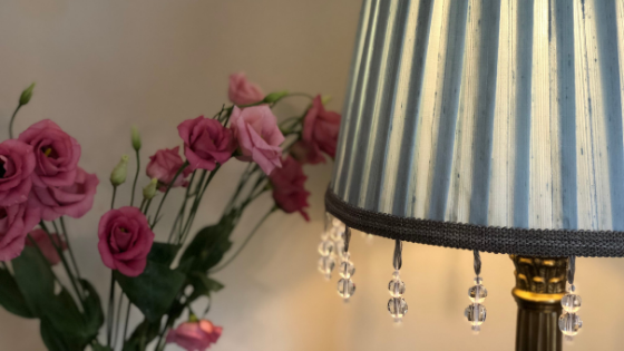 My first bespoke handmade knife pleated lampshade in silk dupion Wedgewood with a drop down beaded trim.