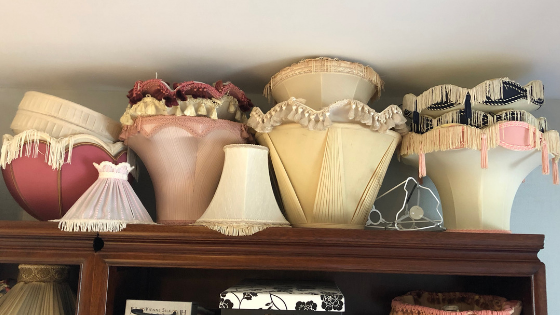 A collection of vintage lampshades waiting for DIY up cycling, gathered, pleated and traditional tailored lampshade making