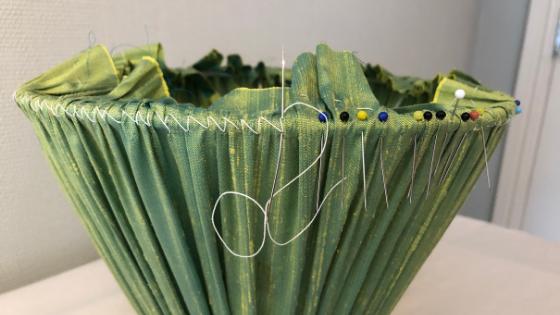 Lampshade stitch on DIY gathered lampshades