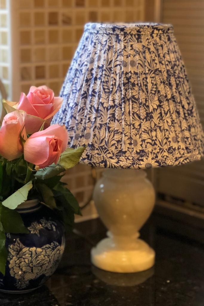 Gathered handmade lampshade in classic blue and white liberty cotton tana lawn.