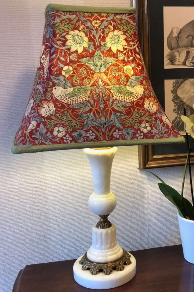 William Morris design, handmade traditional tailored lampshade with a contrast silk dupion lining.