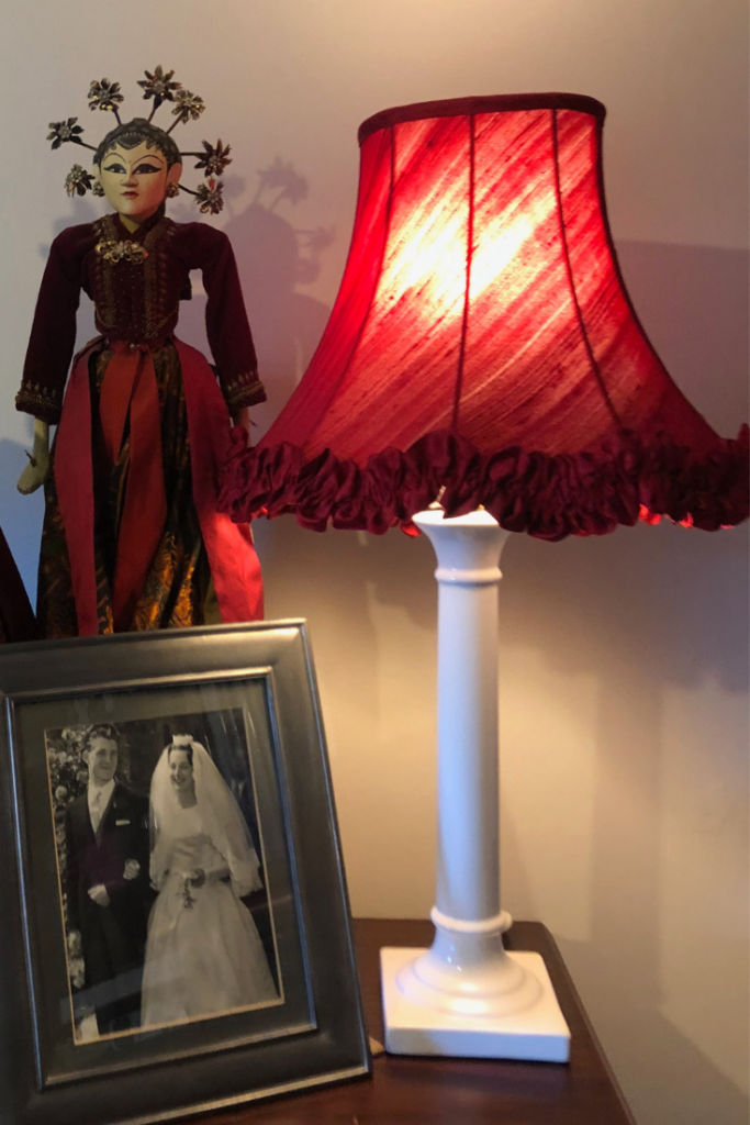 Red silk dupion handmade traditional tailored lampshade with a bespoke handmade gathered frill trim.