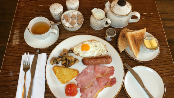 Full English breakfast at High Force Hotel