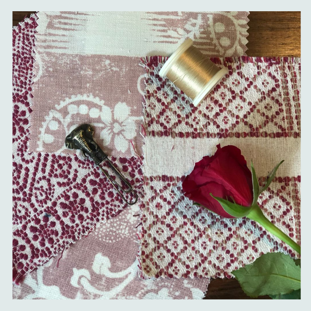 Penny Morrison, (one of Jacqueline's fabric suppliers), fabric samples in hues of pink,  Jacqueline Schultz Interiors