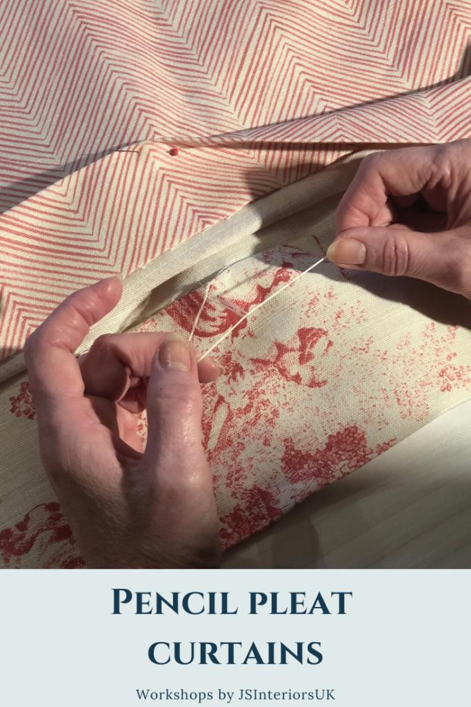 Making pencil pleat curtains - daisy chain stitch