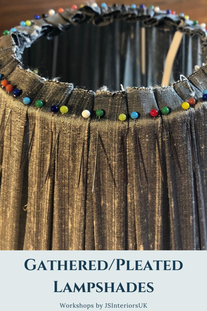 Arranging box pleats on handmade lampshade