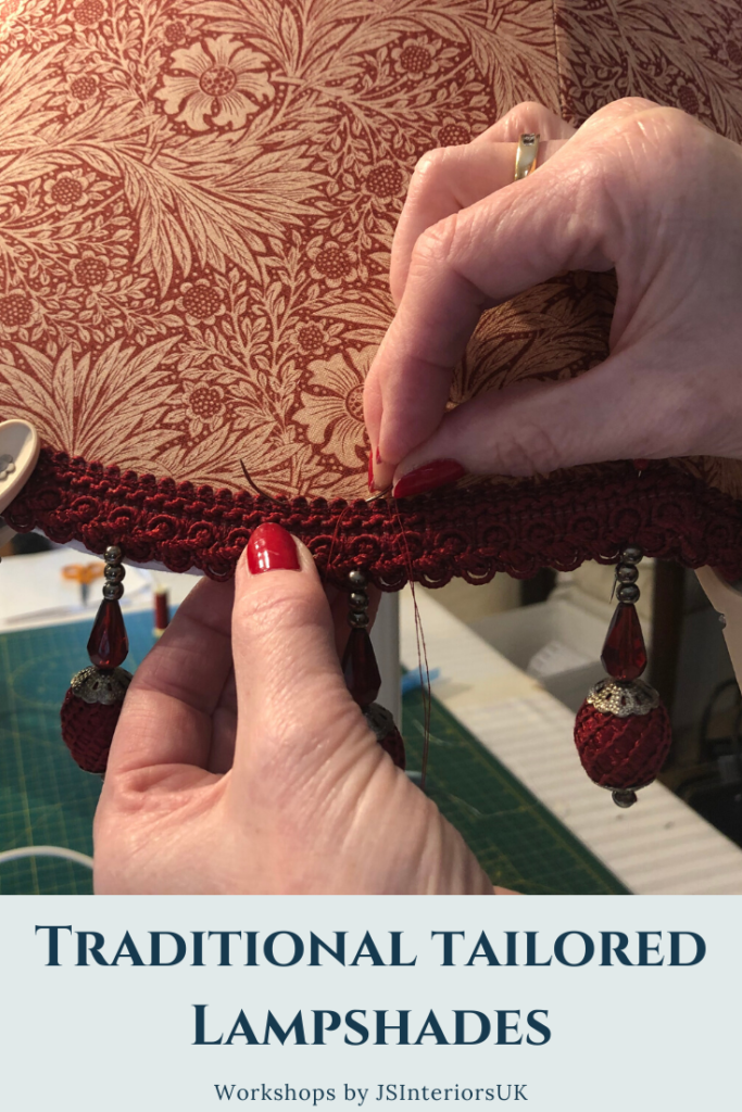 Tailored lampshade making - William Morris fabric